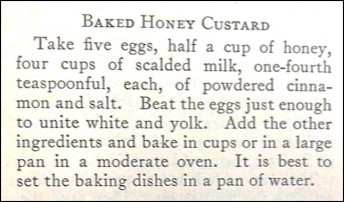 Recipe for Baked Honey Custard
